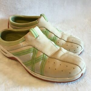 Cole Haan Size 6.5B Tan & Green Leather Low Back Slip On Sneakers Mules