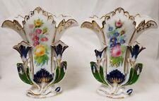 Large Pair Antique Old Paris Floral Vases