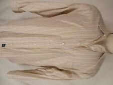 Burberry London Mens Beige Stripe Long Sleeve Cotton Shirt 17.5L XL Tall