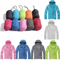 Womens Mens Rain Coat Jogging Hiking Waterproof Windproof Lightweight Jacket