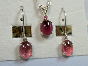 TOURMALINE - Untreated Pink .925 Sterling Silver Necklace & Earring Set 3.79ctw