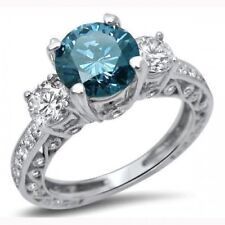 2.10Ct Round Delicate Blue Diamond 3-Stone Engagement Ring 14K White Gold Over