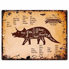 PP0671 Vintage Triceratops dinosaur Meat Cuts Plate sign Home Kitchen Decor