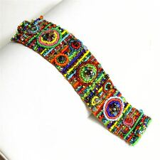 BR313-100 Nine Circles Treasure Designer Bracelet Cuff Fair Trade Artisan Beaded