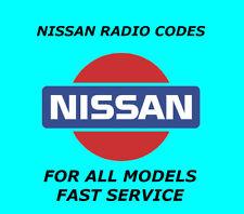 NISSAN QASHQAI JUKE NOTE RADIO CODE STEREO CODES PIN CAR UNLOCK | FAST SERVICE