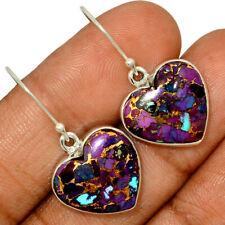 Heart - Copper Purple Turquoise 925 Sterling Silver Earring Jewelry AE153092