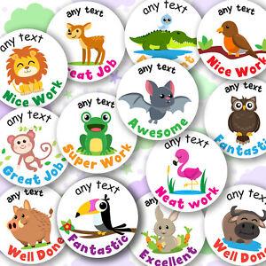 Personalised Teacher Stickers Jungle Safari Forest Animals School Reward Labels