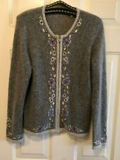 DRESSBARN Sz M Blend Silk Angora Women's Gray Cardigan Sweater Zip Embroidery