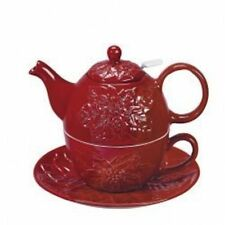 Andrea by Sadek Porcelain Tea for One  Stacked Teapot & Cup  RED POINSETTIA
