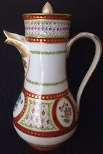 Large Le Tallec Puiforcat  Porcelain Tea Or Coffee Pot Daisy Forget-me-not