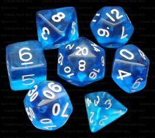 7 Piece Polyhedral Dice Set - Azurian Ice Translucent Blue - Royal Blue Dice Bag