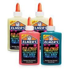 Elmer's Glow-in-The-Dark Glue, Best for Slime, Mixed Colors, 4 Pack, 5 oz each