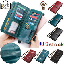 SENDEFN Womens Genuine Leather Wallets Vintage RFID Protection Zipper Long Purse
