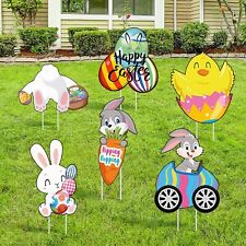 Jetec 6 Pieces Easter Yard Signs Large Size Outdoor Decorative Stake.