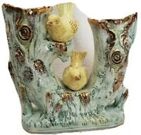 Vtg Ucago Japan Double Horn Shape Vase with pair of yellow birds, RARE!!