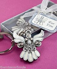 GIFT BOXED! Lovely Guardian Angel Key Chain Pearlized Silver Rhinestones
