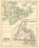 "1890 small map of "" nova scotia, new brunswick, etc "" by j. bartholomew 1890"