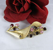Vintage Coro Red & Pink Rhinestone Gold tone Pin Brooch  CAT RESCUE