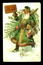 Christmas Santa greetings postcard green robe toys drum gold trim embossed 434