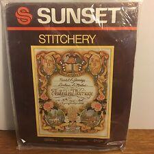 "Vintage Sunset Stitchery ""Wedding Certificate"" 14x18"" 1983, NIP sealed"