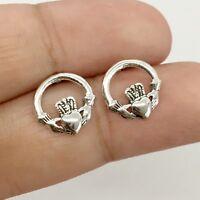 925 Sterling Silver Irish Claddagh Post Stud Earrings Celtic Love Friends Heart