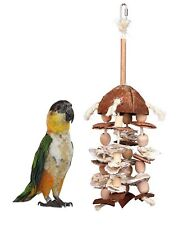 TRIXIE NATURAL WOOD COCONUT BAMBOO SISAL PARROT CAGE TOY WITH SHELLS 58973