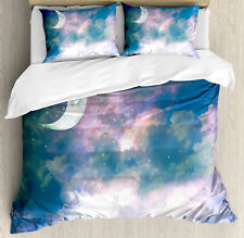 Apartment King Size Duvet Cover Set Crescent Moon Sky with 2 Pillow Shams