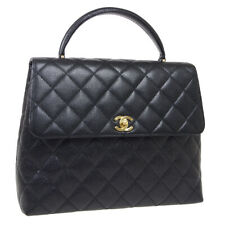CHANEL Quilted Medium Hand Bag Top Handle Purse Black Caviar 5703750 35484