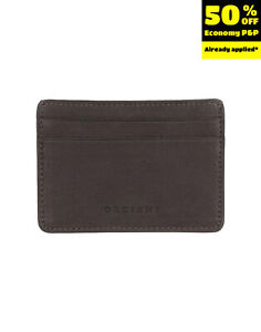 ORCIANI Nubuck Leather Mini Wallet Card Holder Brown Debossed Logo Made in Italy