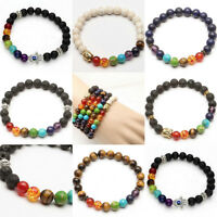 New 6 Style Mens Womens 7 Stone Chakra Healing Reiki Prayer Bead Bracelet Gift