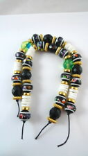 """2 Strands 8"""" Assorted Beads BLACK Faceted Glass Spacers Shell Bracelet Jewelry"""