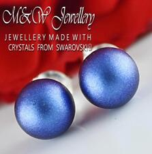 925 Silver Stud Earrings Crystals From Swarovski® PEARL Iridescent Dark Blue 8mm