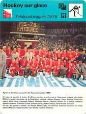 FICHE CARD: 1976 Tournoi Mondial  Czechoslovakia  Photo Equipe  ICE HOCKEY 1970s