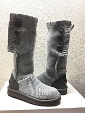 UGG CLASSIC CARDY CASHMERE TALL KNIT HEATHER GREY BOOT sz US 8 / EU 39 / UK 6.5