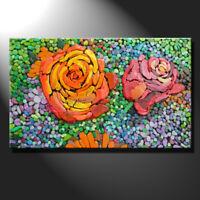 Original mosaic artwork painting porcelain roses flowers artwork art GeeBeeArt