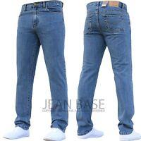 New Mens Jeans Slim Fit Basic Heavy Duty Stonewash Black Denim Casual Tight Size