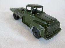 Vintage 1950's Tootsie Toy green army die cast flat bed radar truck