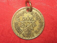 22MM WICCAN VINTAGE GOLD TONE MOROCCO PENTAGRAM STAR BRASS COIN PENDANT