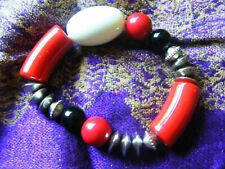 NEXT Elasticated Red White Black Bead Bracelet