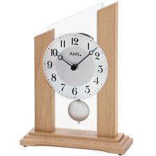 AMS Tischuhr Uhr silber hellbraun Holz Schreibtischuhr Büro Arbeitszimmer modern
