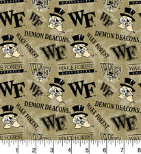 NCAA WAKE FOREST DEMON DEACONS WATERMARK PRINT 100% COTTON BY THE 1/2 YARD