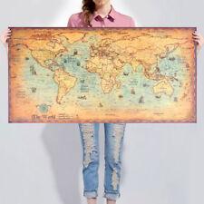 Poster parete muro cartina mondo continenti stati MAPPA antica vintage 100x50 cm