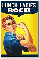 Lunch Ladies Rock - NEW Vintage Funny School Cafeteria Sign POSTER
