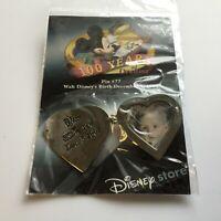 DS - 100 Years of Dreams #77 Walt Disney Birthday Heart Locket Disney Pin 8348