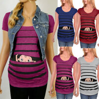 Women Maternity Cute Funny Baby Print Striped Short Sleeve T-Shirt Pregnant Tops