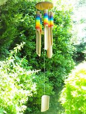 GARDEN WIND CHIMES BAMBOO WIND CHIMES RAINBOW MULTI COLOUR COLOURED CHIMES #