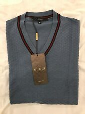 Gucci mens v - neck knitwear brand new with tags size medium colour blue italy