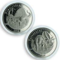 France Mayotte 1 franc Dinosaurs Dimetrodon and Torosaurus set of 2 coins 2016