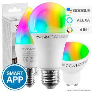 LAMPADINE a LED attacco E27 E14 GU10 V-Tac Smart RGB LAMPADINA Alexa Google Home