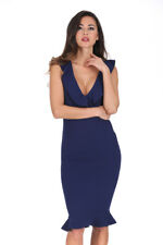 AX Paris Women Navy Plunge V Neck Midi Dress Frill Detail Bodycon Party Cocktail